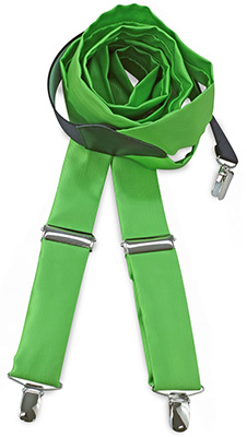 Suspenders tie fabric apple green