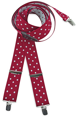 Suspenders red with white polkadots