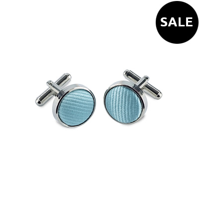 Cuff links silk aqua