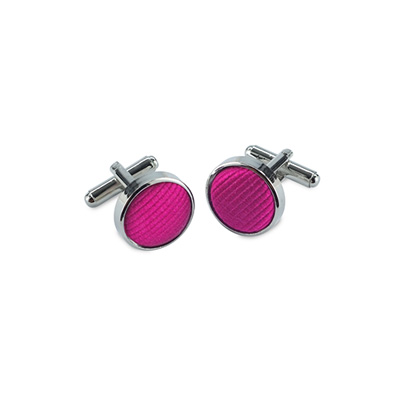 Cuff links silk magenta