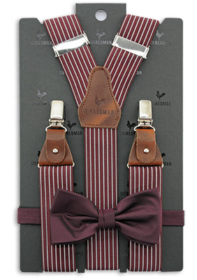 Sir Redman suspenders combi pack Striped Gent bordeaux