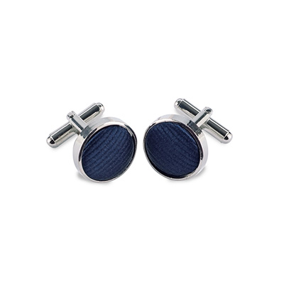 Cuff links silk navy blue