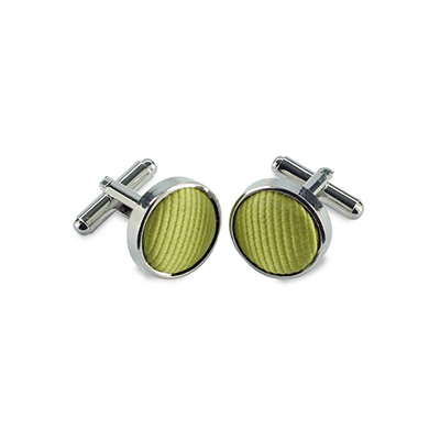 Cuff links silk lime green