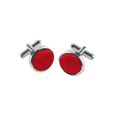 Cuff links silk red