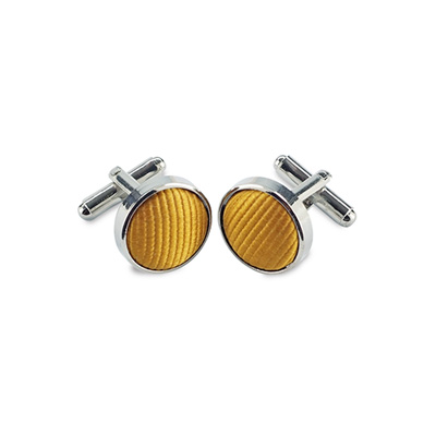 Cuff links silk yellow