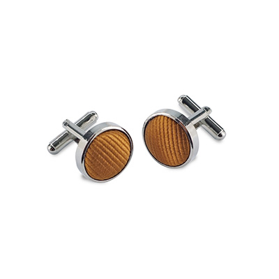 Cuff links silk cognac