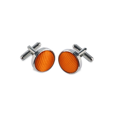 Cuff links silk orange