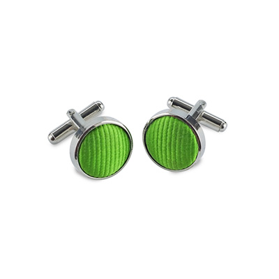 Cuff links silk apple green