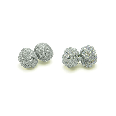 Cuff links fabric silver