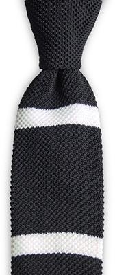 Necktie knitted black stripe